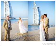 British couple marrying at the Mina A'Salam Hotel with the Burj Al Arab in the background.  Photography: Dubai Wedding Photographer, SarahC