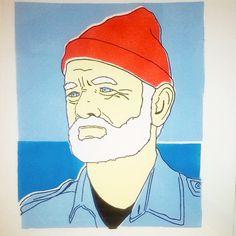 Bill Murray as Capt. Steve Zissou. Trykk og håndmalte akrylfarger på 300g papir. Ca 15x20cm. Opplag på 5, 3 igjen. Pris: 350 kr. #Hassebostrosby #hassebøstrosby #instaart #TheLifeAquatic #SteveZissou #BillMurray #Art #acrylic #sea #ocean #WesAnderson