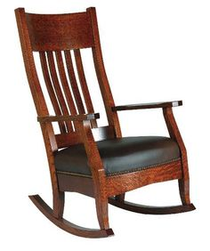 Amish Mission Rocker with Optional Footstool - The quality mortise and tenon construction of this solid wood mission rocker will guarantee its place as a family heirloom for generations. This Mission style rocking chair comes with a padded seat for added comfort. The Mission Rocker is recognized for its comfort! It is one of our most popular designs and goes well with a variety of styles and decors.