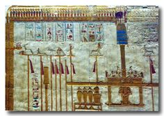 Abydos temple complex, standards of deities, festooned with red ribbons, and a pillar of Amun with 2 feathers on top, placed in a sedan chair, and gold jars on a stool, being incensed by a pipe full of burning resins, in a shrine bearing a decorated roof frieze of Ouret cobras. 19th dynasty. Egypt.