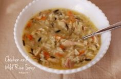 """Chicken with wild rice soup –  A good basic soup recipe. I made this with the leftover chicken from the """"Roast Chicken"""" recipe. Both were seasoned with thyme, so it was a good blend"""