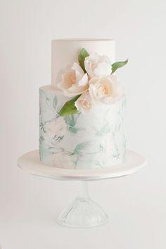 A barely-mint background made Cake Ink's green leaf-and-bud design seem so subtle.