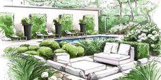 Conception De Jardin - New ideas Landscape Architecture Drawing, Landscape Sketch, Architecture Graphics, Landscape Plans, Landscape Drawings, Cool Landscapes, Garden Design Plans, Garden Landscape Design, Garden Landscaping