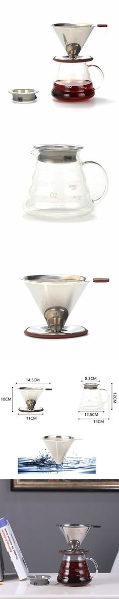WeCollection Pour Over Coffee Dripper Persons, Full Set with Glass Dispenser, Food Grade Stainless Steel Filter Paperless Glass Dispenser, Coffee Dripper, Coffee Machines, Pour Over Coffee, Full Set, Food Grade, Filters, Stainless Steel, Espresso Machine