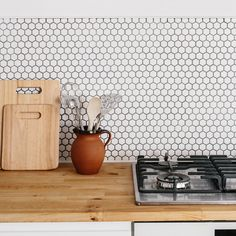 Matt hexagon mosaic tiles