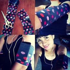 Homemade iPhone armband for working out. Sewing Hacks, Sewing Crafts, Sewing Projects, Arm Workout With Bands, Crazy Socks, Diy Blog, Refashion, Diy Clothes, Sport Outfits