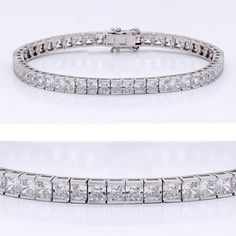 This classic cubic zirconia tennis bracelet features 0.20 carat each (3.5mm) princess cut in a 14k white gold channel setting. An approximate 10.10 total carat weight. This high quality cubic zirconia bracelet is 7 inches long, also available in different lengths via special order. Cubic zirconia weights refer to equivalent diamond carat size.