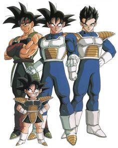 Coolest family ever! Bardock, Goku, Gohan, Goken.