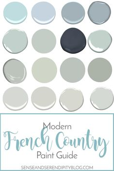 Modern French Country Paint Guide Finding the perfect paint color for your farmhouse style can be overwhelming. I've put together a guide to help you choose the best color for your Country Paint Guide Modern French Country, French Country Furniture, French Country Kitchens, French Country Bedrooms, French Country Living Room, French Country Farmhouse, French Country Decorating, Farmhouse Style, Bedroom Country