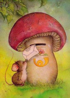 12 beaux tableaux de lisi martin - Page 3 Art And Illustration, Illustration Mignonne, Art Fantaisiste, Art Mignon, Mouse Pictures, Mushroom Art, Cute Mouse, Spanish Artists, Animal Illustrations
