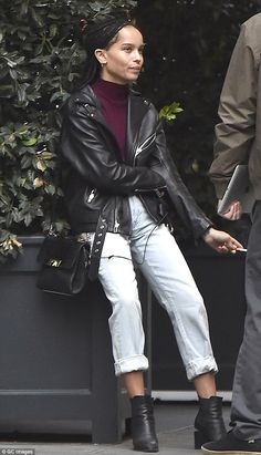What a drag: Zoe Kravitz was spotted on a cigarette break in New York City on Monday