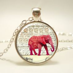 Red Elephant Necklace, Art Jewelry Pendant