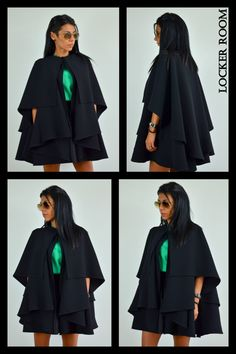 Black winter coat / Wool winter cape / Black woman poncho / Maxi black coat by ClothesByLockerRoom on Etsy