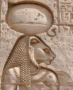 """In Egyptian mythology, Sekhmet was the goddess of fire and war. She had the head of a lioness and the body of a woman. In her former life, she was Hathor. a solar goddess, and was named """"Eye of Ra."""""""