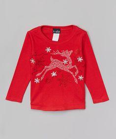 Look at this #zulilyfind! A Wish Red Reindeer Rhinestone Tee - Toddler