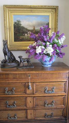 Antique Italian Chest with 19th C Dog Painting and Bronzes  www.lindafloyd.com