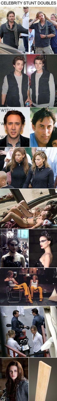 Celebrities & their Stunt Doubles; I didn't get the point of this at first but I busted out laughing when I figured it out