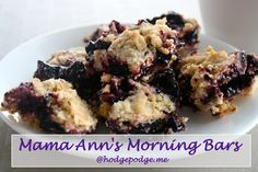 Morning bars are a family classic from my grandmother, Mama Ann. One of those recipes we've come to expect her to always have at her house. My children beg for morning bars. If I can't make the bars right away then the children figure out some way to eat the black raspberry jelly on something. We enjoyed these at the beach for breakfast one morning.