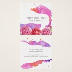 #hairstylist #businesscards - #Watercolor Floral Makeup Artist & Hair Salon Square Business Card