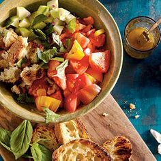 Bell Pepper, Tomato, Cucumber, and Grilled Bread Salad   MyRecipes.com #myplate #vegetable #grain