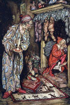 Impish Santa  Arthur Rackham's Illustrations for The Night Before Christmas