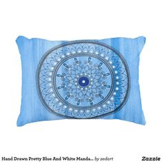 Hand Drawn Pretty Blue And White Mandala Flower Accent Pillow Paint Background, Flower Mandala, Accent Pillows, Decorative Throw Pillows, Hand Drawn, How To Draw Hands, Vibrant, Blue And White, Tapestry