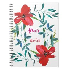 RED FLORAL DESIGN WITH GREEN LEAVES NOTEBOOK - floral style flower flowers stylish diy personalize