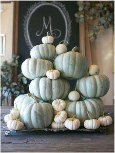 Thanksgiving Pumpkin Decor Ideas. White and gray pumpkins. Via Sinclair and Moore.