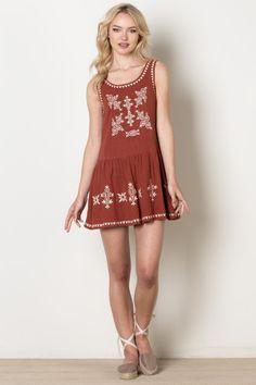 Burnt Orange Sleeveless Dress with White Embroidery - Longhorn Fashions #hookem