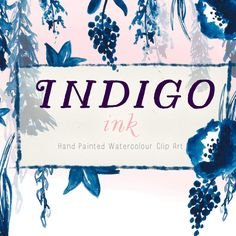 Hand Painted Flowers - Indigo Ink    A collection of ink flowers and leaves that were created on watercolour paper. You can use all the pieces to