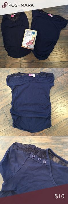 2 Navy Maternity Tops Both Tops are navy blue. One sleeveless, one short sleeved. Both have lace details and ruched sides for belly growth. Both size small. No holes or stains. Times Tops