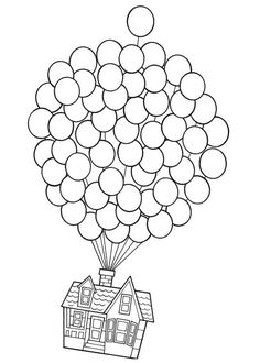 Up-Use this pic but let kids use fingerprints in balloons for color and real string. Make your world more colorful with free printable coloring pages from italks. Our free coloring pages for adults and kids. Coloring Book Pages, Printable Coloring Pages, Up House Drawing, Drawing Drawing, Disney Pixar Up, Disney Movies, Disney Characters, Disney Crafts, String Art