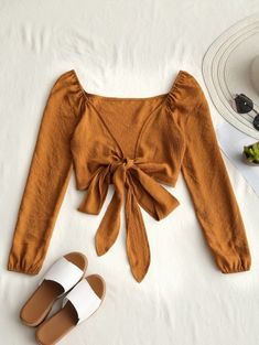 SHARE & Get it FREE | Plunging Neck Tied Bowknot Crop Blouse - Earthy SFor Fashion Lovers only:80,000+ Items • New Arrivals Daily Join Zaful: Get YOUR $50 NOW!