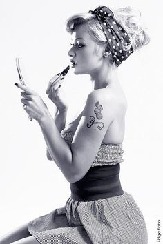 18. Go-anywhere hair inspiration  #modcloth and #makeitwork  Up and out of the way. Add a bandanna to dress it down while I am working or a scarf to dress it up for a premier. And it goes with my Rockabilly style.