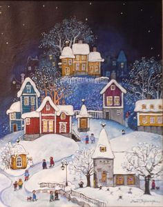 Christmas Scenes, Christmas Love, Christmas Pictures, Vintage Christmas, Christmas Drawing, Christmas Paintings, Christmas Illustration, Winter Illustration, Winter Art