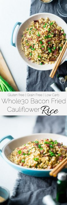 Whole30 Bacon Cauliflower Fried Rice - This lower carb, healthy cauliflower fried rice uses bacon instead of chicken to make it extra delicious! It's an easy, family-friendly weeknight meal for under 250 calories! | http://Foodfaithfitness.com | /FoodFaithFit/