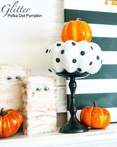 Super easy Glitter Polka dot Pumpkin tutorial! #halloween #craft