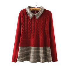 SheIn(sheinside) Red Lapel Plaid Hem Cable Knit Sweater (31 AUD) ❤ liked on Polyvore featuring tops, sweaters, red, long sleeve pullover sweater, embellished sweater, sweater pullover, cable knit sweater and red pullover sweater