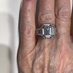 Asscher Cut Diamond Engagement Ring, Pearl And Diamond Ring, Engagement Ring Cuts, Big Wedding Rings, Beautiful Wedding Rings, Emerald Cut Diamonds, Diamond Cuts, Custom Made Engagement Rings, Wire Jewelry Designs