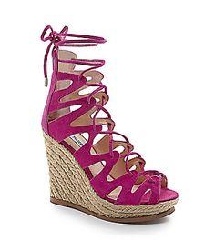 Steve Madden Theea LaceUp Espadrille Wedge Sandals #Dillards via @jseverydayfash