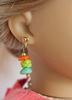 American Girl doll earrings  multicolored by EverydayDollwear