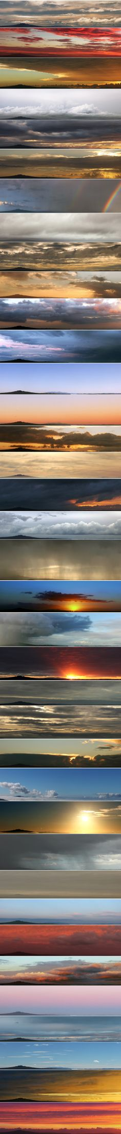 One Year Weather Photography Over Rangitoto: This is a collage of 37 panoramas I took over the past 12 months, always from the same viewpoint. Rangitoto is a volcanic island near #Auckland, #NewZealand. Please read the complete post here >>> http://aeimage.wordpress.com/2014/04/05/one-year-of-weather-photography-over-rangitoto/