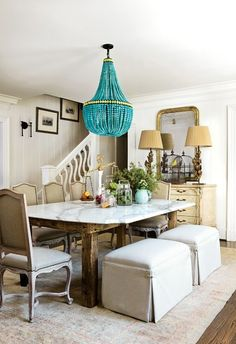 Just the marble table with weathered wood is amazing.. Ok maybe the chandelier too
