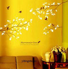 vinyl wall decal-tree branch with birds-modern decor wall sticker art graphic. $35.99, via Etsy.