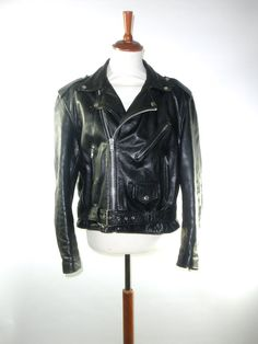 Black Leather Motorcycle Jacket // EXCELLENT by PacificWonderland, $125.00