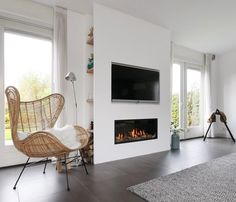 Lifs interieuradvies & styling www. Built In Shelves Living Room, Living Room Tv, Living Room Wall Units, Home And Living, Brown Lounge, Living Room With Fireplace, Home Living Room, Relaxing Living Room, Interior Design