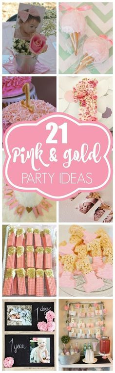 21 Pink and Gold Party Ideas Pink Gold Party, Pink And Gold Birthday Party, Gold First Birthday, Baby Girl 1st Birthday, First Birthday Parties, First Birthdays, Birthday Ideas, Golden Birthday, Princess Birthday