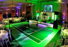 A Slightly Less Conventional Tennis Court Dance Floor Tennis Cake, Tennis Party, Sports Party, Bar Mitzvah, Tennis Decorations, Wimbledon Tennis, Tennis Quotes, Tennis Tournaments, Tennis Tips