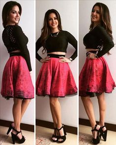 Sunny Leone wore a cute black crop top which she teamed up with a flowy short skirt!