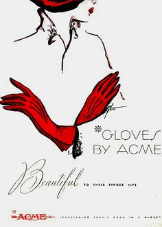 1949 Vintage ad for Acme Red gloves